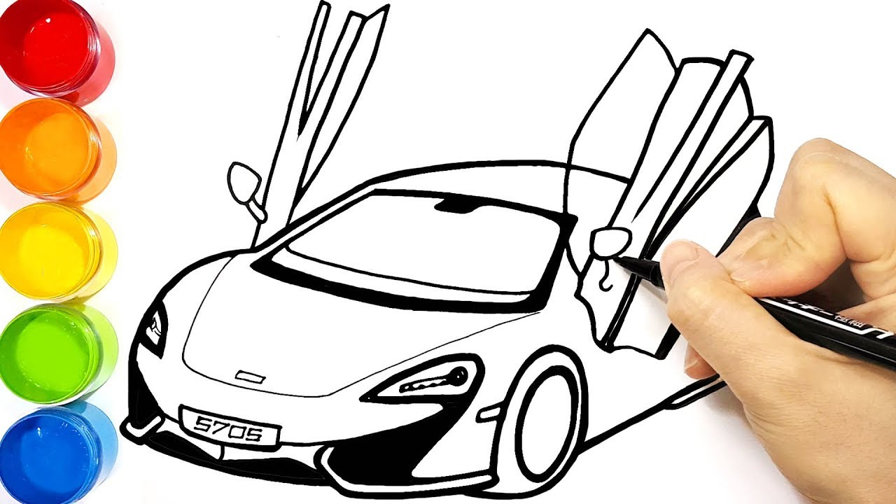 How to draw and color a sports car McLaren 570S Supercar ...