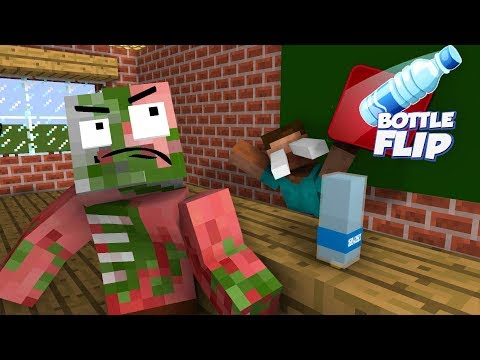 Monster School : BOTTLE FLIP CHALLENGE - Minecraft Animation