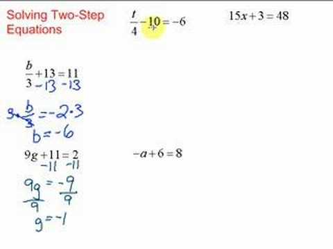 Lesson 7-1: Solving Two-Step Equations - YouTube