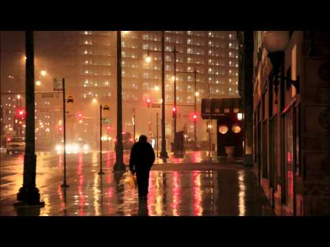 One hour of rain sound in residential area, street city night ambient audio, relaxing noise for slee