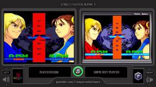 Street Fighter Alpha 3 (PS1 vs GBA) Side by Side Comparison (Game Boy Player)