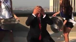 The president Donald TRump doing the Icebucket challenge