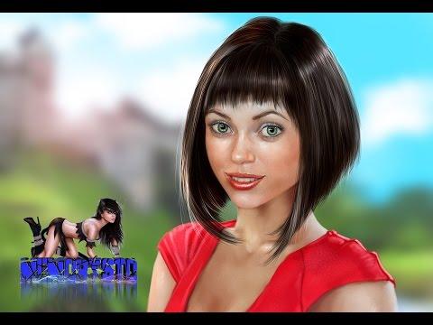 Цифровой портрет - Девушка в красном платье