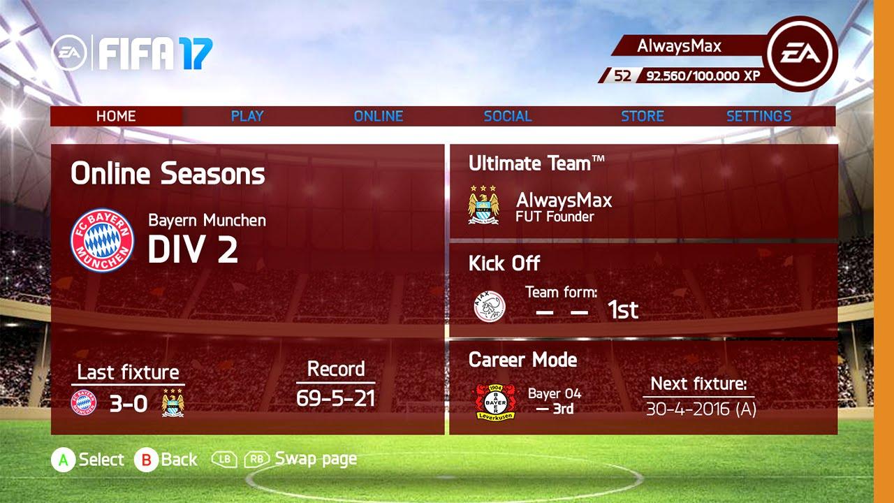 FIFA 17 Menu Design - Aangepast