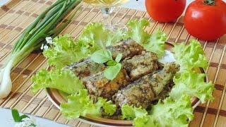 Рыба Сайра запеченная в духовке с грибами