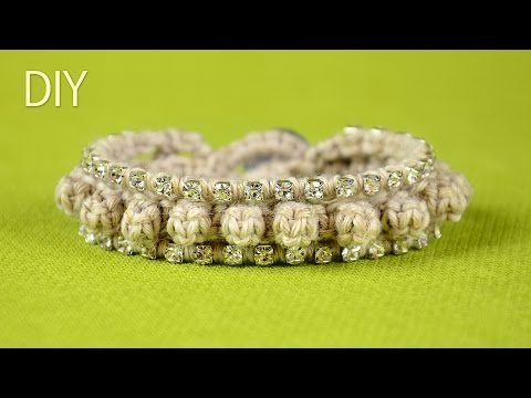 DIY: Knotted-Loop Bumps Bracelet with Crystal Cup-Chain