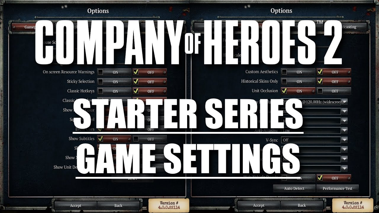 Coh2 Starter Series Game Settings Youtube