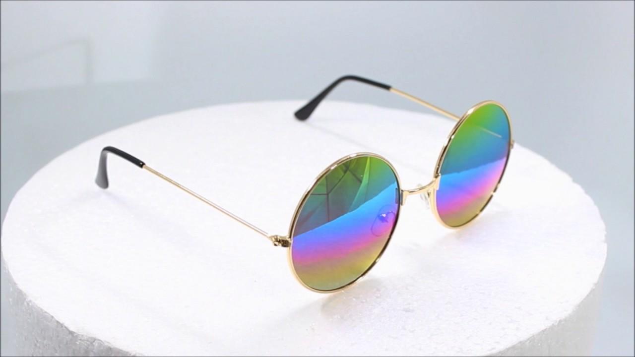 d28674c0d61c Round Rainbow Lens Gold Chrome Eyewear - YouTube