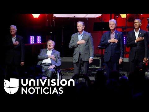 Cinco expresidentes de EEUU se reúnen en concierto benéfico para apoyar a víctimas de huracanes