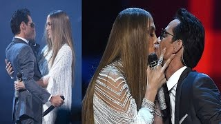 Jennifer Lopez Kisses Ex-husband Marc Anthony Onstage at Latin Grammys