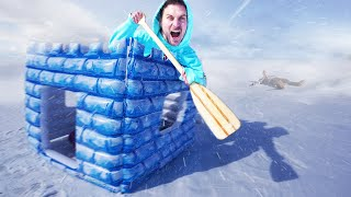 BOUNCE HOUSE RAFTING ON FROZEN LAKE!