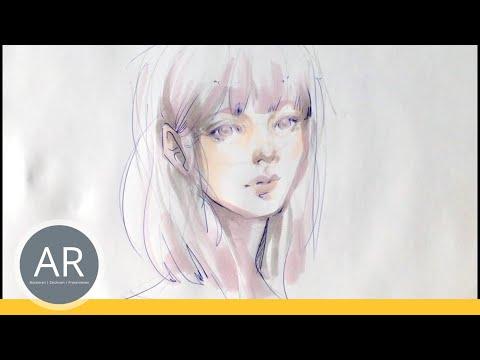 Portrait zeichnen – Marker-  und Kugelschreiber Technik