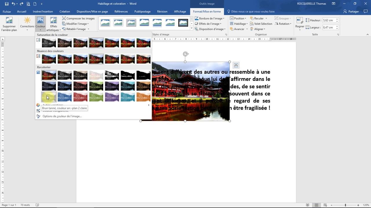Habillage Coloration Et Transparence Des Images Formation Word