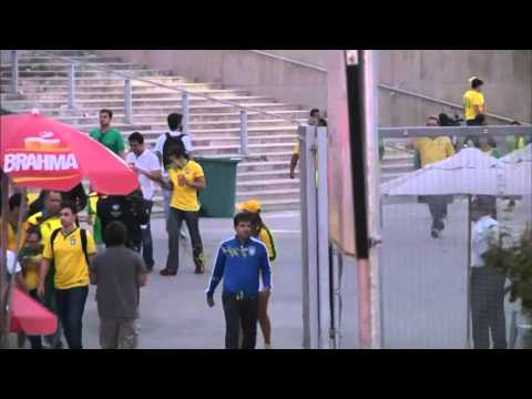 Raw: Brazil Fans Leaving Stadium Before Half