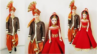 DIY Bridal Groom Dhoti &Kurta for Male Doll/How to Decorate a Doll as Indian Traditional Bride Groom