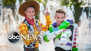 Grooms dress as Woody and Buzz Lightyear at Disney-themed wedding l GMA Digital