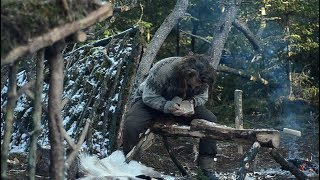 Bushcraft trip - wood carving, cooking meat - permanent a-frame camp series [part 4 - long version]