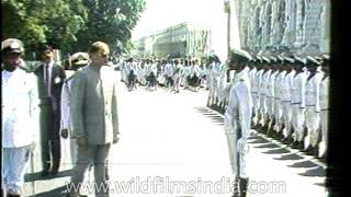 Rajiv Gandhi escapes an attempt on his life by a Sri Lankan Naval Cadet