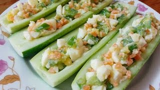 Egg Salad on Cucumber | Healthy Appetizer | Candy Healthy Recipes