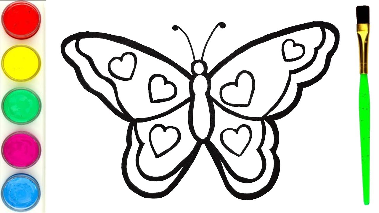 How To Draw Butterfly And Learn Color Mewarnai Dan Melukis Rama Rama Draw Kupu Kupu Yang Indah Youtube