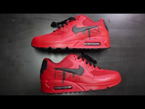 """Custom Nike Air Max 90 """"Candy Red Drip"""" + Time Lapse"""