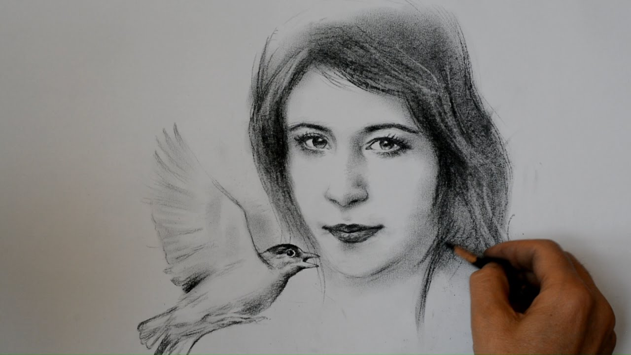 Beautiful girl with a bird realistic drawing time lapse