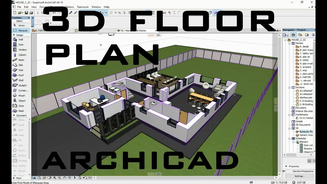 How to create 3d floor plan in archicad youtube for 3d building creator