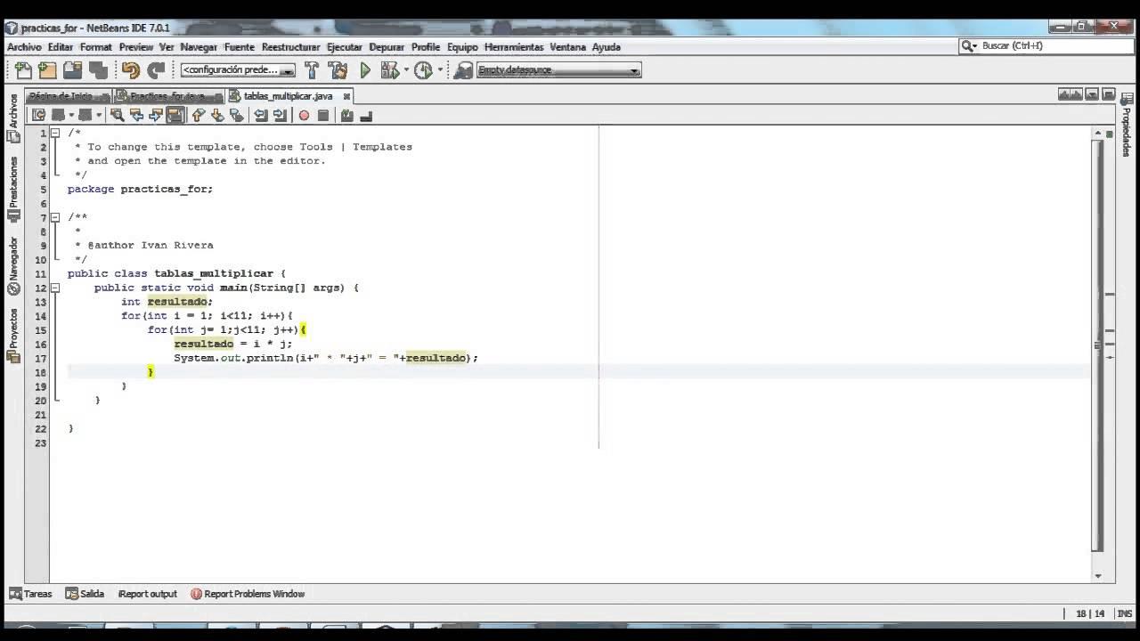 Tablas De Multiplicar Con For Anidado En Java