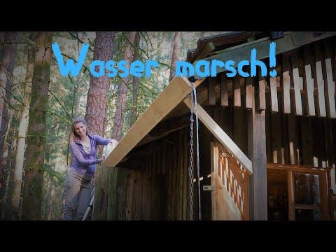 ????????????Waldhütte????#10 DIY- Wasserversorgung / Regenrinne,Wasserspeicher,selbst gemacht - Vanessa Blank 4K
