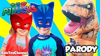 pj masks in real life battle t rex dino miles tomorrow land toys pj masks live by epic toy channel