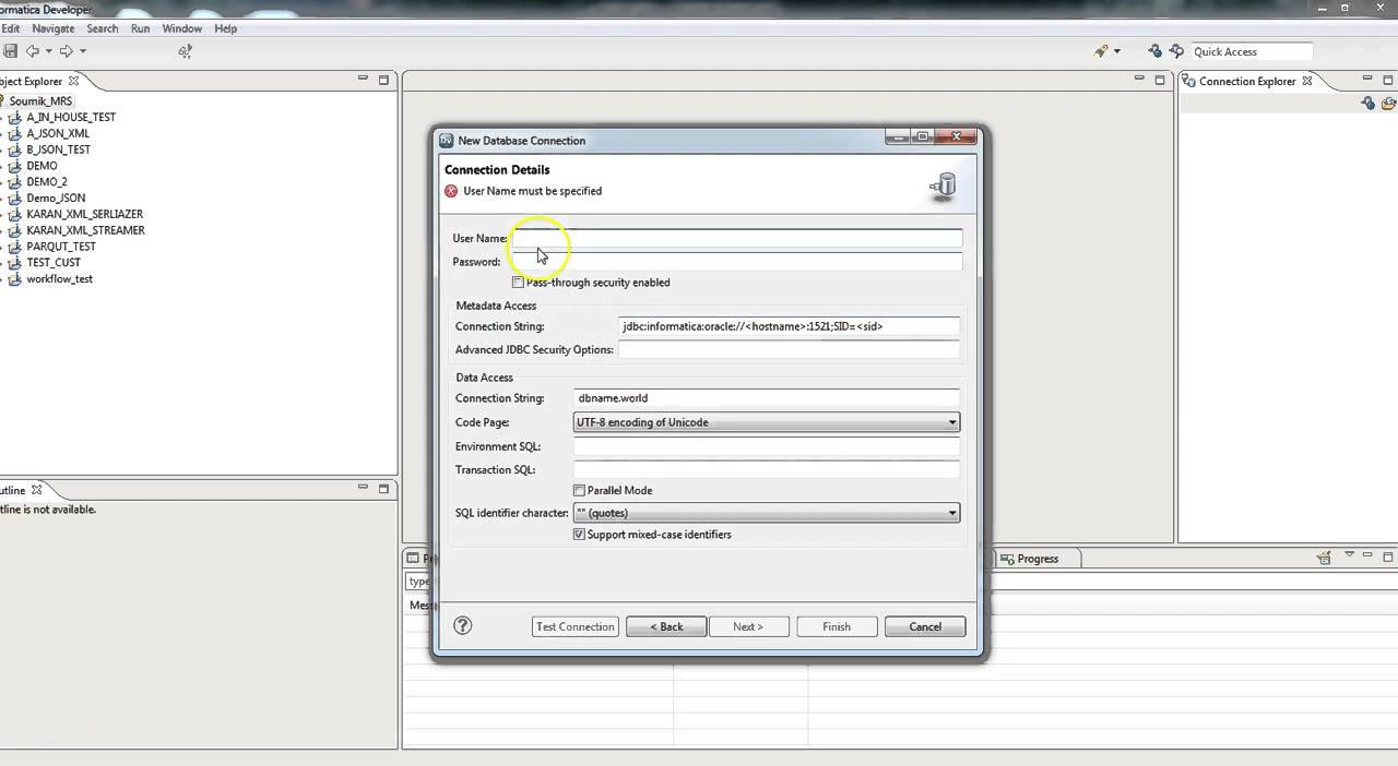 How to add a relational connection in Informatica Developer client ...
