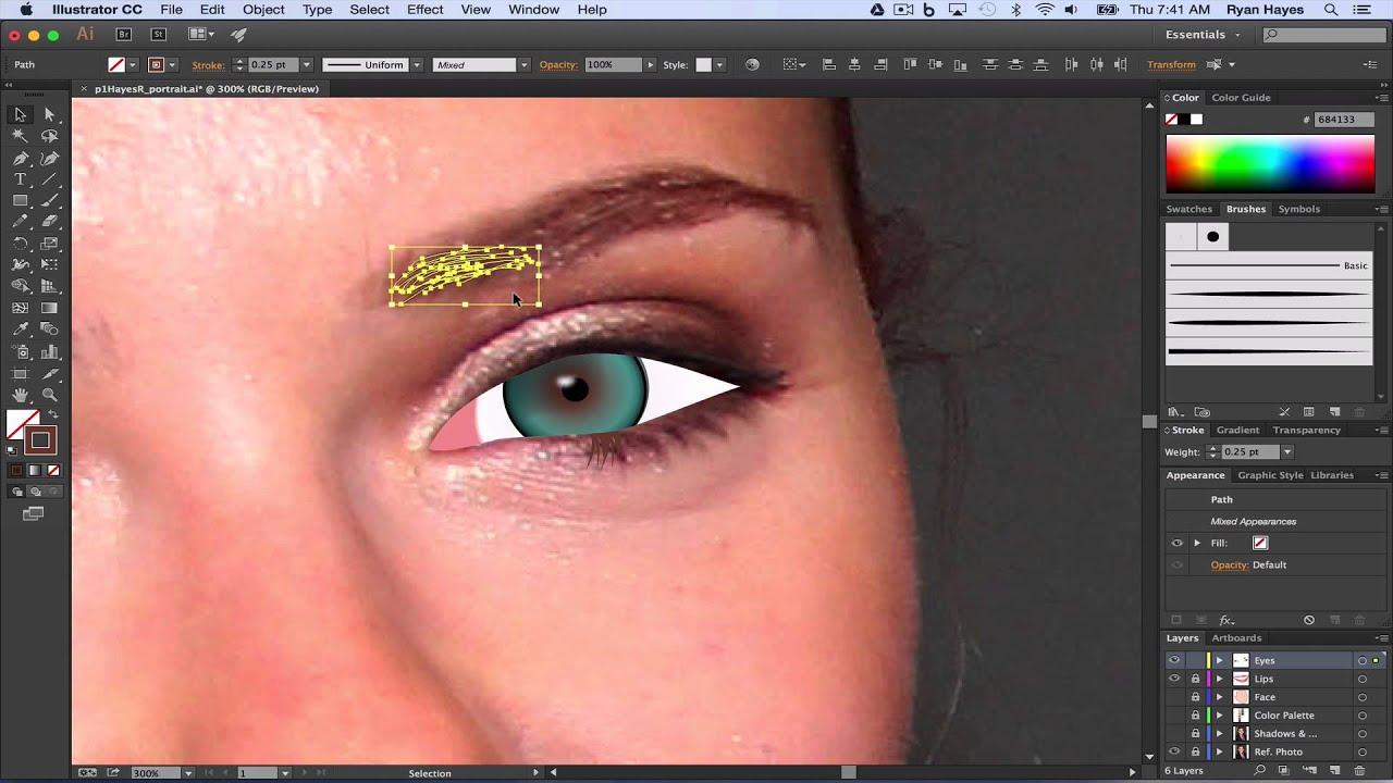 Illustrator Cc Vector Portrait 08a Eyelashes And Eyebrows Youtube