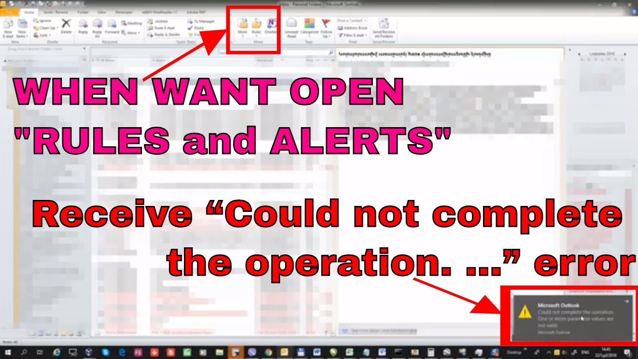 MS OUTLOOK 2010 RULES and ALERTS CRASHED AFTER LATEST UPDATE November 2018