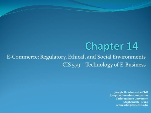 BCIS 5379: Chapter 14: E-Commerce-Regulatory, Ethical, and Social Environments