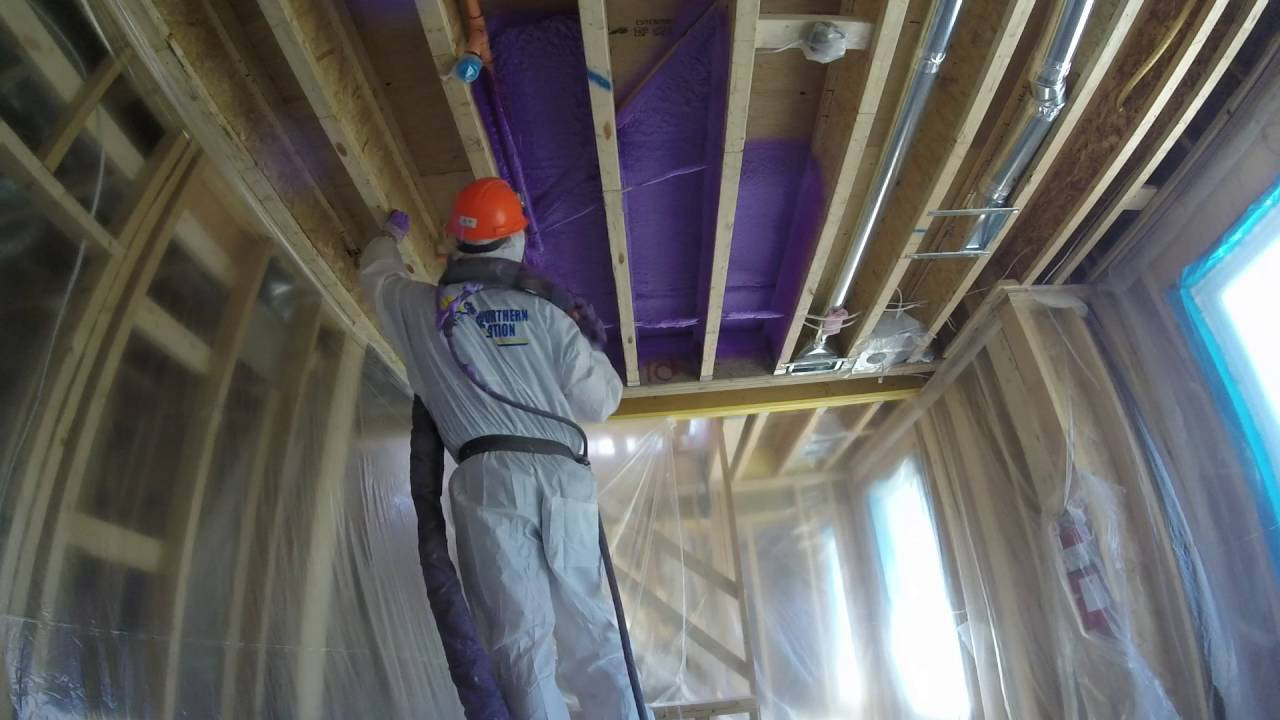Medium density spray foam to ceilings