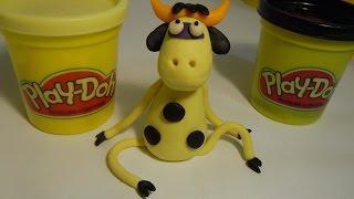 Как слепить из пластилина Плей До или теста для лепки корову.  How to make a cow of Play Doh (clay).