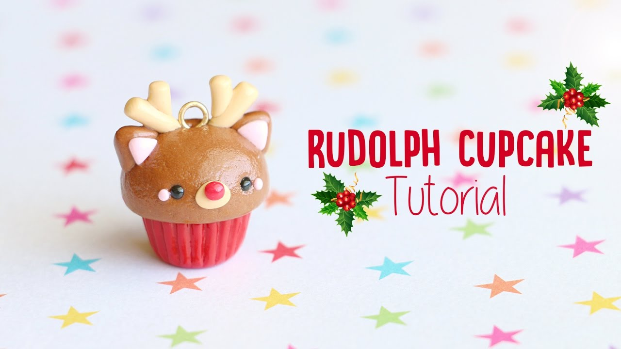 Polymer Clay Christmas Charms.Rudolph Reindeer Cupcake Polymer Clay Christmas Tutorial
