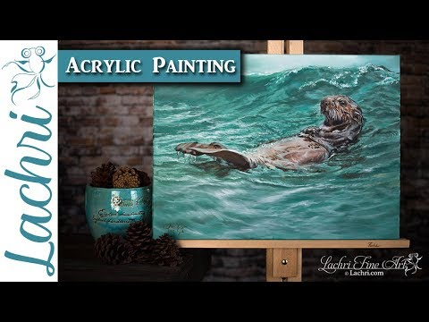How to paint water and a sea otter in acrylics - painting demo w/ Lachri