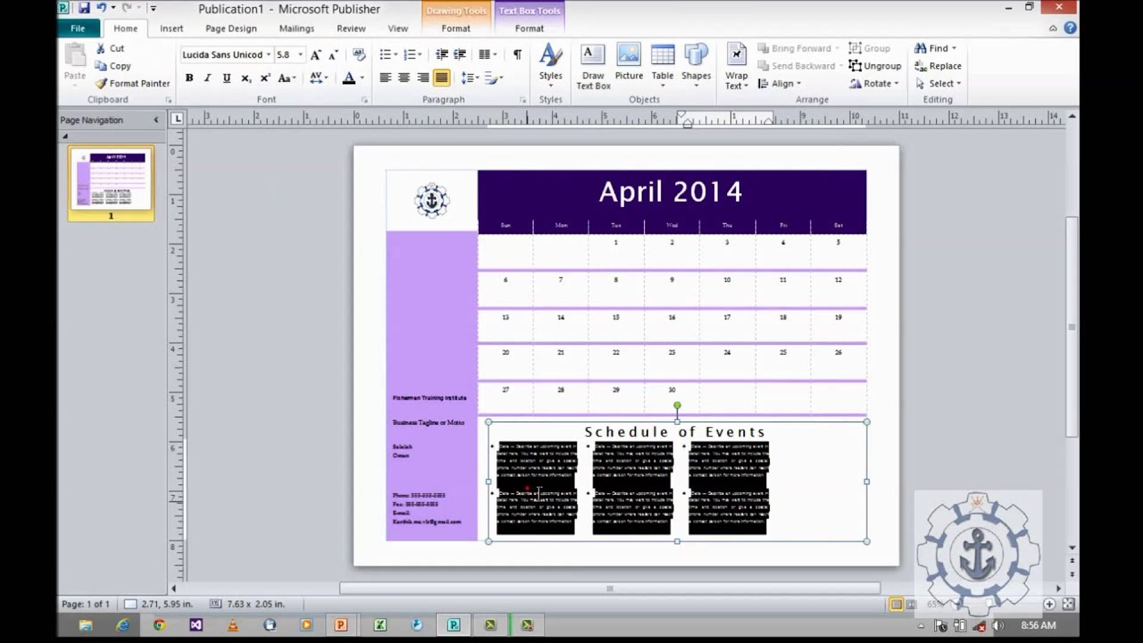 How to use Calendars in Microsoft Publisher 2010 - YouTube