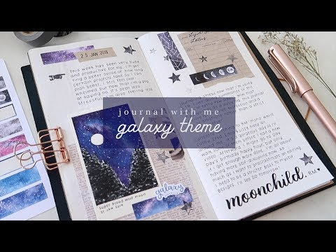Journal With Me · January 2019 · Galaxy Theme Traveler's Notebook Spread