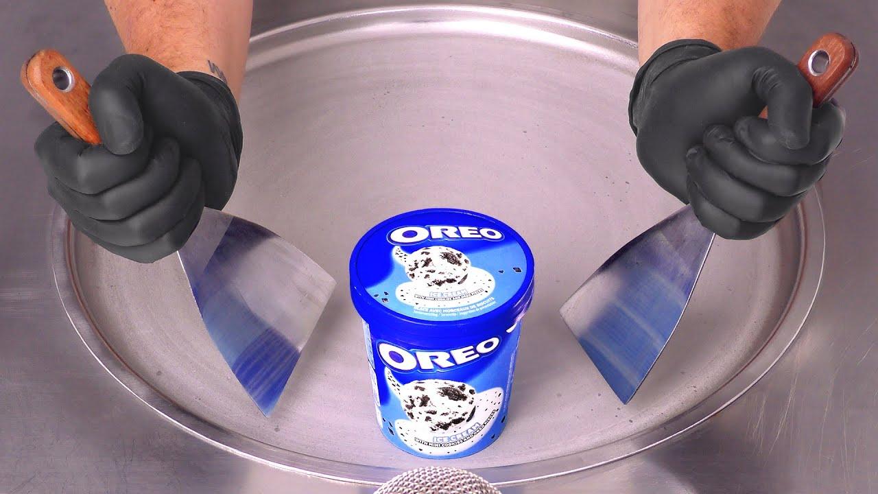How to make OREO Ice Cream Cup to Ice Cream Rolls   ASMR