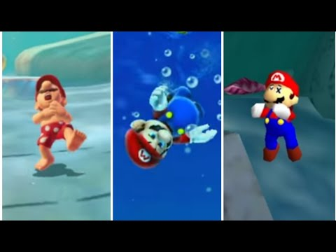 Evolution Of Mario Drowning In 3D Mario Games (1996 - 2017) N64 To Switch