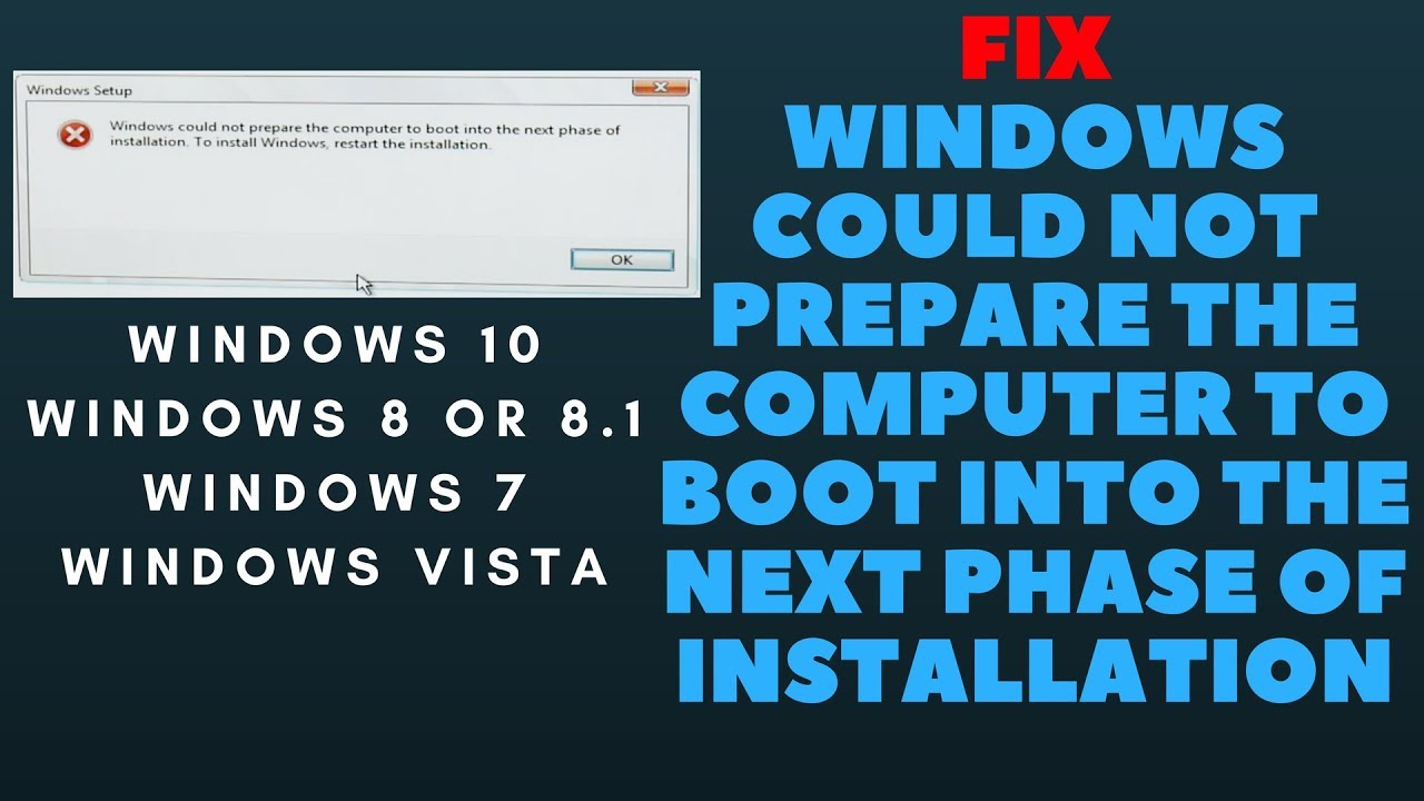 windows could not prepare the computer to boot into the next phase of  installation Windows 10