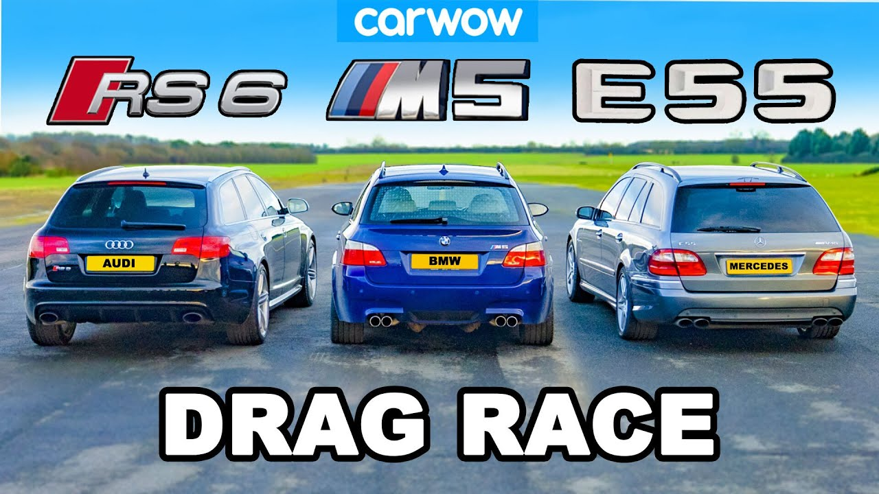 BMW M5 V10 vs AMG E55 vs Audi RS6: DRAG RACE *NA vs Turbo vs Supercharged*
