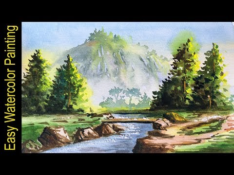 Easy Watercolour Landscape Painting For Beginners By Art Candy | How To Paint With Watercolor