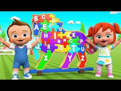 ABC Songs For Children - Little Babies Fun Play Learning Alphabets With Wooden Horse Puzzle Toy Set
