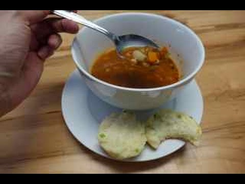 Beef Barley Soup with Cheddar Green Onion Biscuits