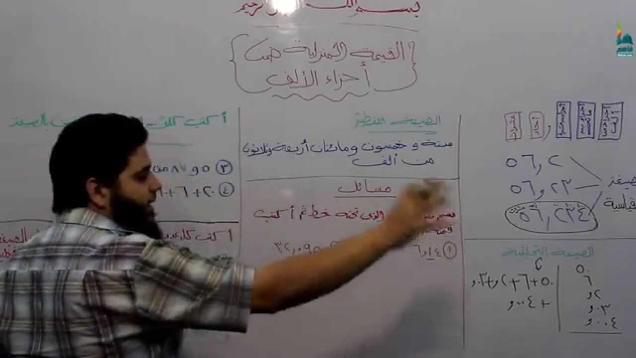 رياضيات خامس الدرس الرابع القيمة المنزلية ضمن اجزاء الألف Youtube