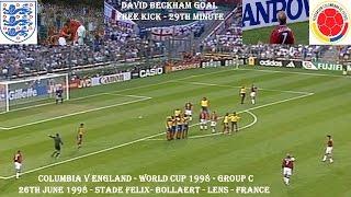 COLOMBIA V ENGLAND - WORLD CUP 1998 - DAVID BECKHAM GOAL- GROUP G - 26TH JUNE 1998 - FRANCE