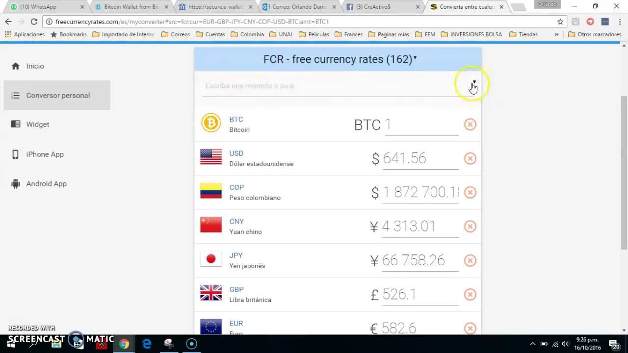 Convertidor De Divisas Simultaneo Bitcoin U Cop